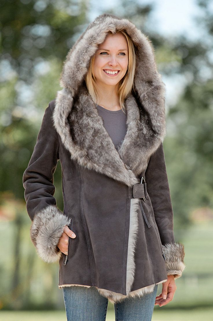 Women's Felicia Shearling Sheepskin Jacket with Toscana Trim by Overland Sheepskin Co. (style 13915)