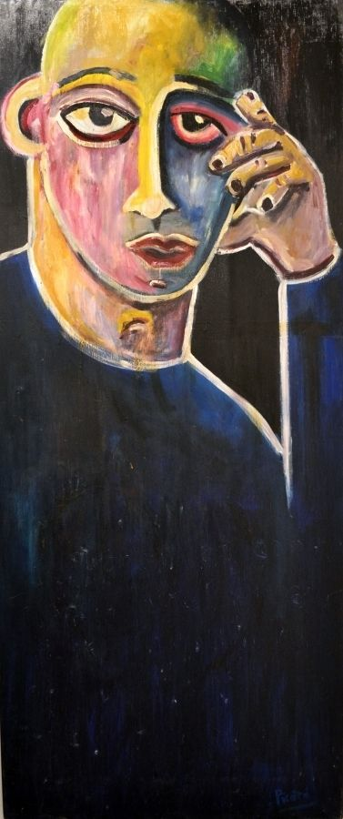 """James Picard - Man in Thought. Acrylic on Canvas. 24"""" x 60"""""""