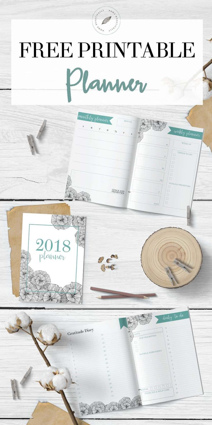 Ready to get organized? This free printable calendar for 2018 features a monthly planner, weekly planner, and daily to do list. Also, there's a gratitude and happiness dairy, a habit tracker, a meal planning printable, and a grocery list printable.