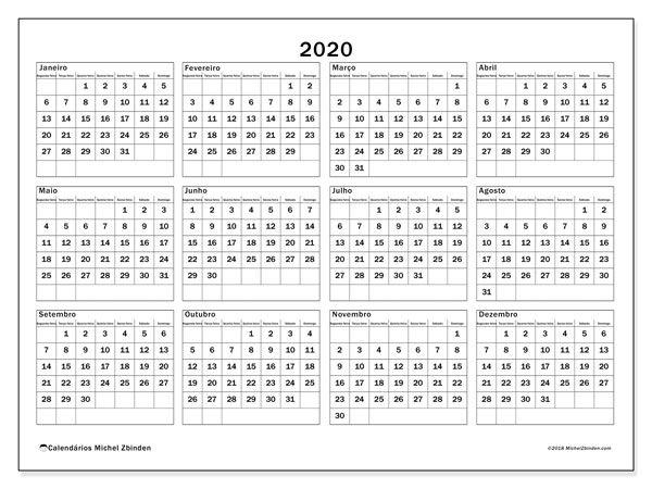 Calendario 2020 Portugues Com Feriados.Calendario 2020 34sd Calendario Calendario Para