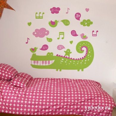 funny musiс crocodile for wall kid's room