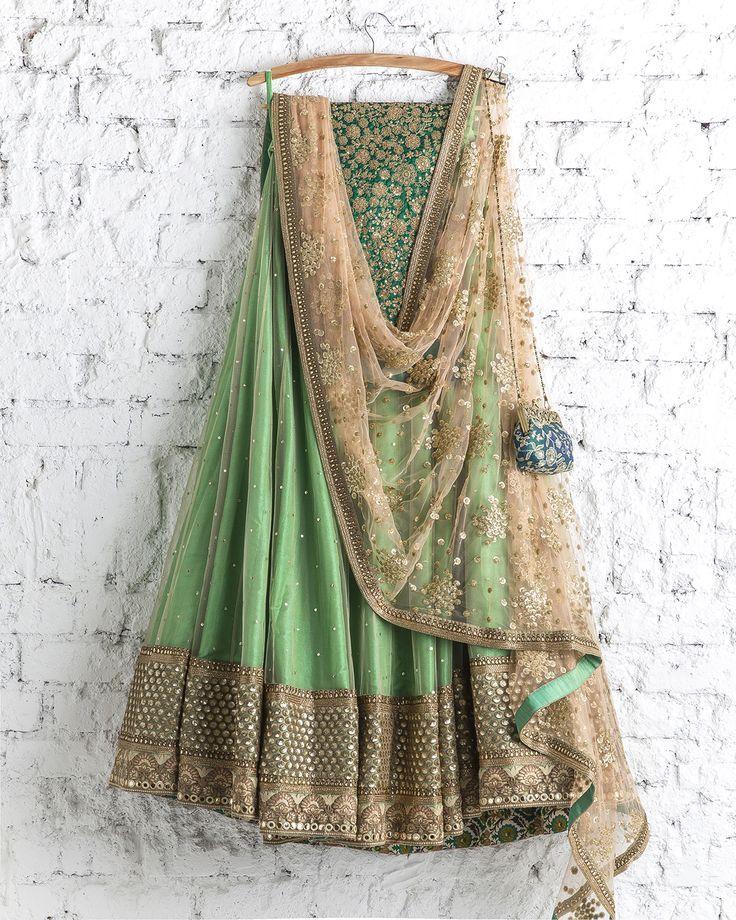 SwatiManish : Fern Green Lehenga With Light Gold Dupatta...