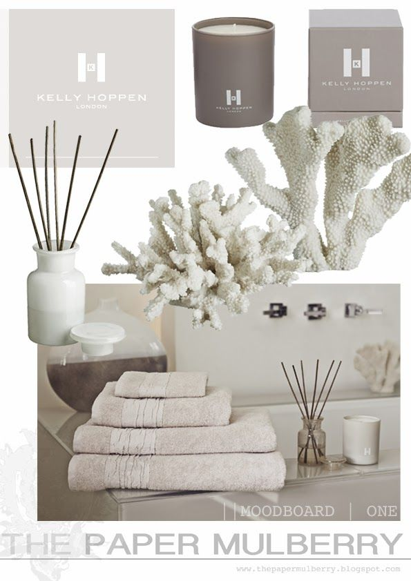 Spa bathroom styling from Kelly Hoppen | white coral | candles| pale neutral | The Paper Mulberry: || KELLY HOPPEN | New online shop!