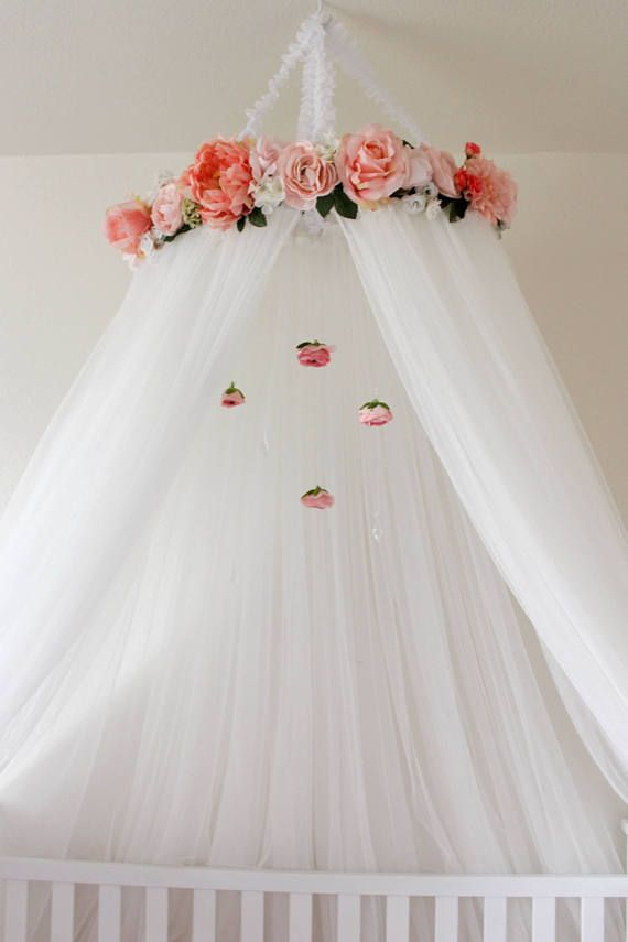 Beautiful Pink and White Crib or Bed Canopy with Roses and hanging crystals and peonies and flowers Nesting Baby girl  Girl nursery  Pink nursery  Floral nursery  Nursery themes  Little girls room decor Nursery decor Pink