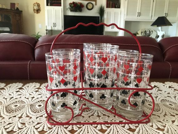 Vintage Card Glasses Barware Glass and Caddy Set by ClassicStash