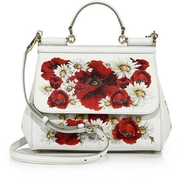 Dolce & Gabbana Sicily Small Floral-Print Textured Leather Top-Handle... found on Polyvore featuring bags, handbags, apparel & accessories, white red floral, top handle leather handbags, satchel purse, top handle handbags, floral print handbags and white handbags