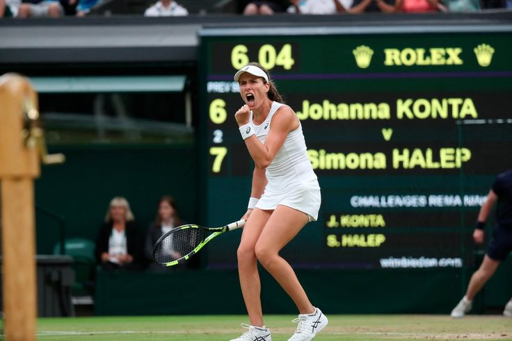 Major upset as Jo Konta becomes 1st British woman to reach a Wimbledon singles semi-final since Virginia Wade in 1978, after Simona Halep lost in 3 sets. pic via Wimbledon.