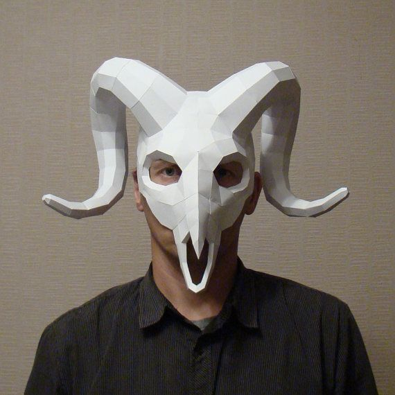 Now third. Big and beautiful Halloween Party Ram mask. This one my favorite.  This papercraft template a digital instant download PDF file  DIY