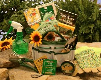 Gardening Basket Gift Ideas gold leaf rocks herb garden its the perfect season Gardening Gift Baskets