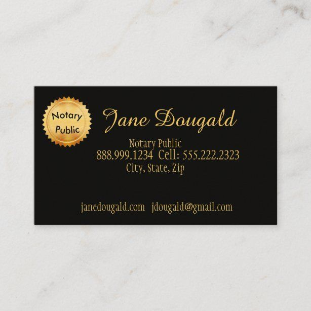 Gold Seal With Black Classic Notary Business Card Zazzle Com Attorney Business Cards Notary Printing Double Sided