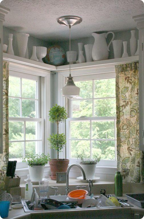 diy schoolhouse light pendant -- with the shelf above the window