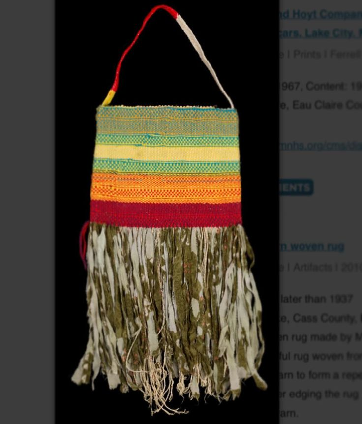 """""""Twined bag made by #Somali elder"""" Minnesota Historical Society Collections Online 2008.211.1 (Accession Number) Dates: Created: 2007 Places: #Minneapolis #HennepinCounty #Minnesota #UnitedStates """"Twined woven bag with multi-colored #stripes of red yellow blue and black and lined with #batik cotton. It features a warp of torn fabric strips and bast fiber that create a #fringe an interior pocket and #woven straps."""" Made by elder #weaver Holden. Photo: Minnesota Historical Society"""