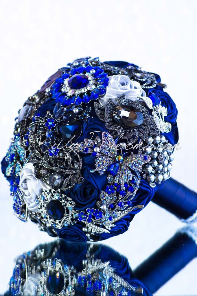 Ruby Blooms is pleased to offer you the - Elite Collection - Sapphire Blue Bridal broach bouquet Designed for Deep Blue Wedding Theme Bridal Flowers and Special Events! Brooch Bouquet Specifications: