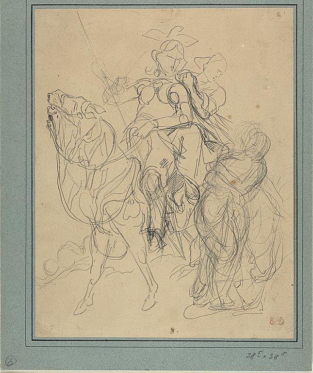 Delacroix Study for Marphise and the Mistress of Pinabel | The Art Institute of Chicago