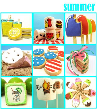 Decorated Summer cookies | click the links for the tutorials: