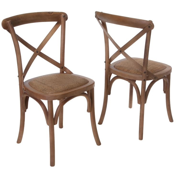 Smith light brown cross back dining chairs set of 2 by for Light colored dining room sets