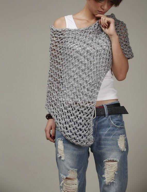 Hand knit Little cotton poncho grey knit scarf knit