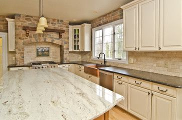 Photography for Granite Grannies--Leathered Antique Brown & River Valley Granite - mediterranean - kitchen countertops - dc metro - by Mark Petinga Photography, Inc.