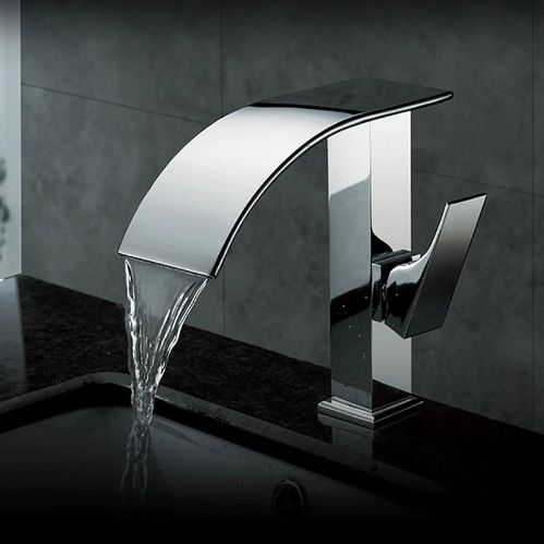 Contemporary Chrome Waterfall Bathroom Basin Sink Faucet Single Handle Lavatory Sink Mixer Tap Deck Mounted