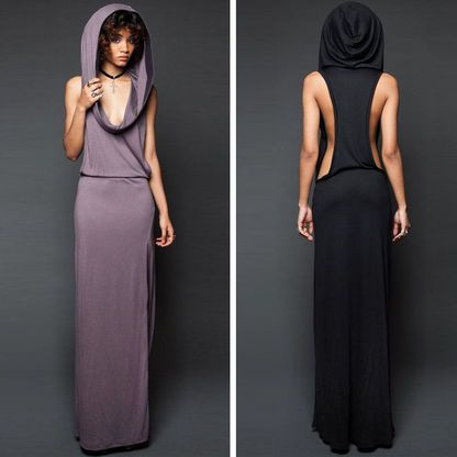 Hibiscus Berry Hooded Sleeveless Maxi Dress. I really like the back with the hood.