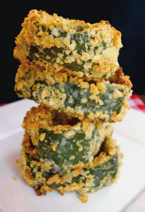 Crispy Oven-Fried Poblano Rings. Great idea for a unique side!