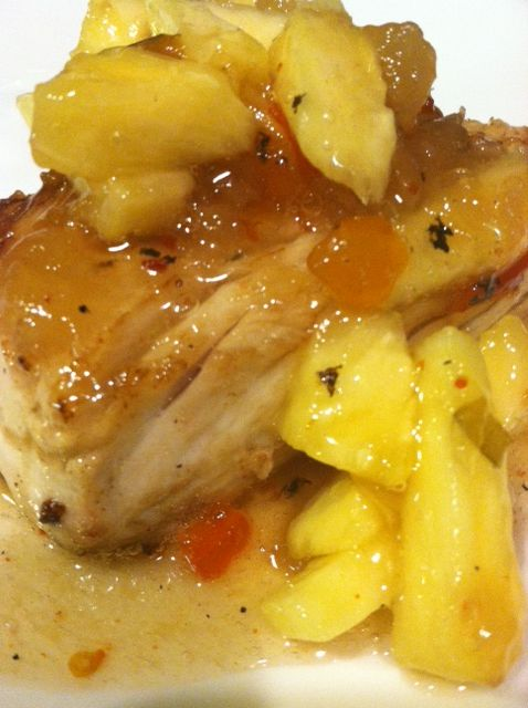 Grilled yellow tail tuna with my home made pineapple for Pineapple sauce for fish