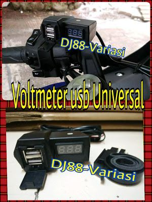 Voltmeter usb charger hp motor di stang jepit universal r15 cb 150 cbr 150 vixion xabre r25 mt25 ninja 250
