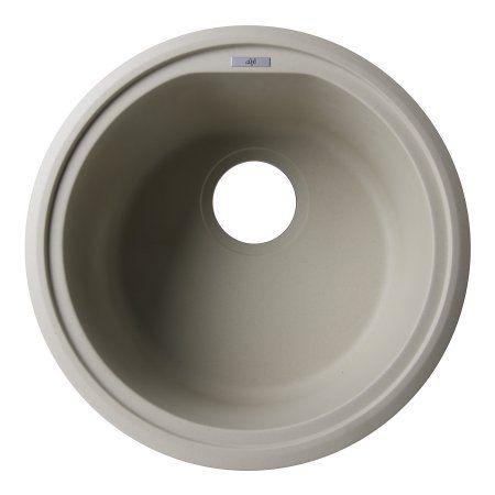 Alfi Brand AB1717UM B Biscuit 17 Inch Undermount Round Granite Composite  Kitchen Prep Sink,