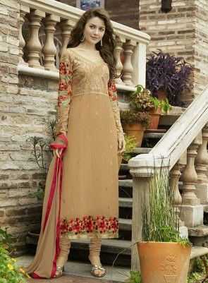 #Beige #Straight #Churidar #Suit Features on georgette fabric top with thread embroidery and karachi work on border and sleeves, santoon bottom including matching chiffon dupatta with lace.
