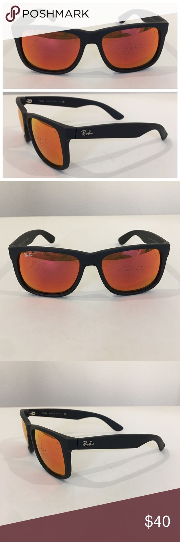 Auth RAY BAN sunglasses, replacement frames only Authentic RAY BAN Justin rubbber frame sunglasses, Model RB 4165, made Italy. Note: selling as replacement frames only as both lens are very scratched. Lens inscribed with the word Ray Ban and marked with s