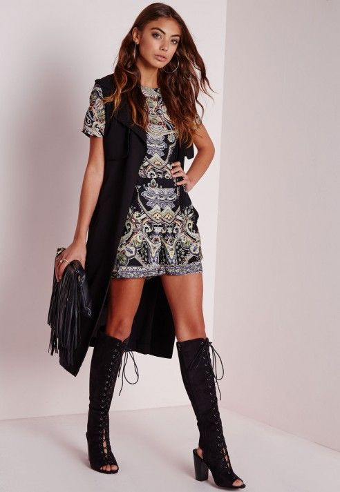Tall Paisley Print Cap Sleeve Playsuit Black - Tall - Playsuits - Missguided