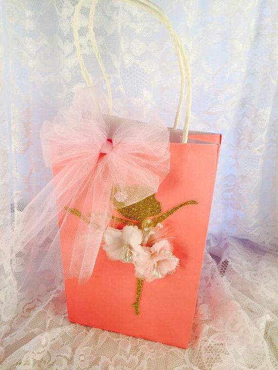 Ballerina Favor Bag - Guest Bag - Ballerina Birthday Party - Ballerina First Birthday - Ballet - Ballerina Baby Shower - Pink and Gold Party