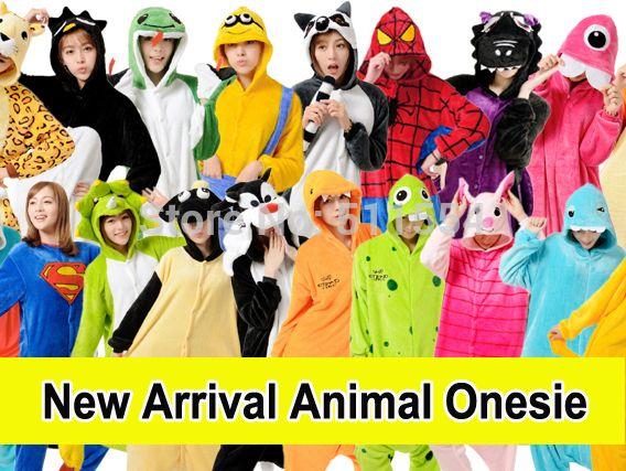 Envío Gratis 2014 nuevo de la llegada de Adultos Coral Fleece Finn y Jake animales de patas pijamas Onesies Para la Navidad del traje Venta