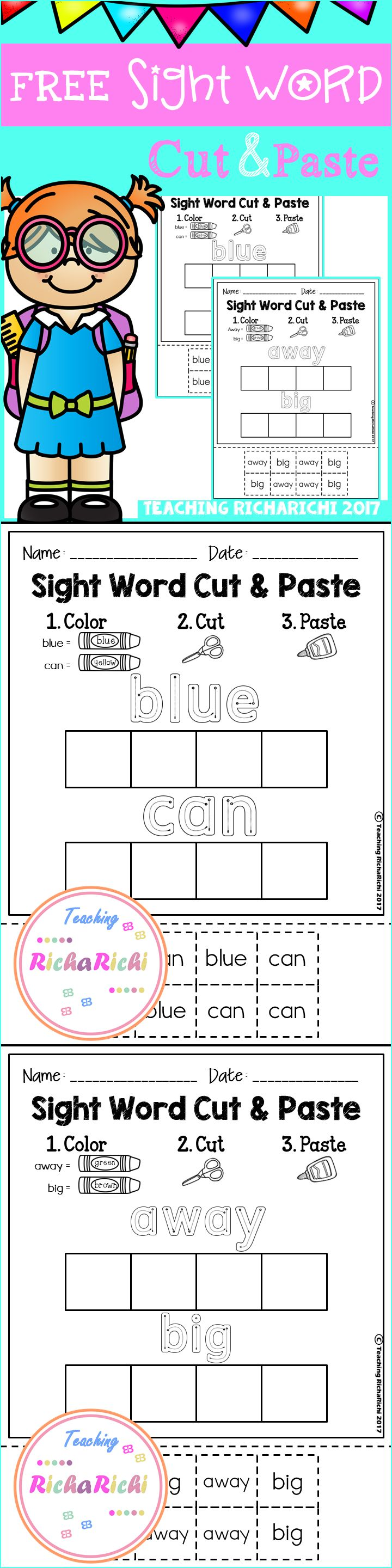 worksheet Free Printable Kindergarten Sight Word Worksheets 10 best ideas about sight word worksheets on pinterest cut and paste pre primer inside you will find 3 pages of each page contains two s