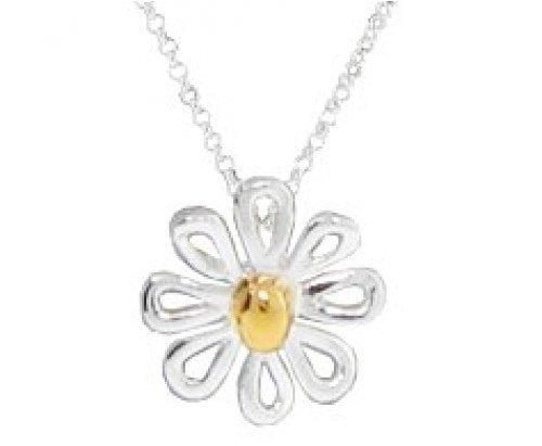 Bling Jewelry Whimsical Two Toned Sterling Silver Daisy Pendant Necklace 16in