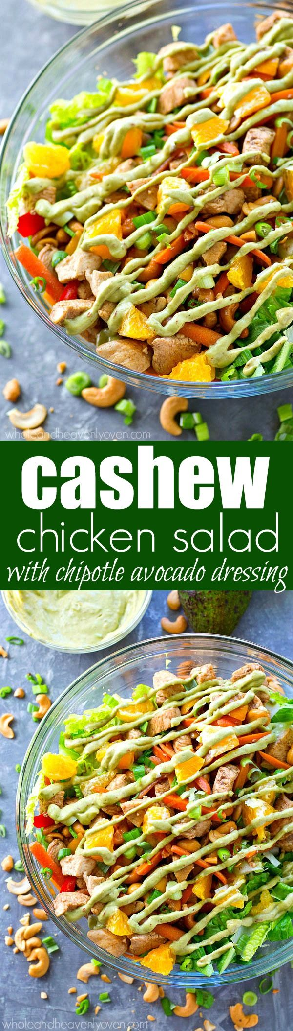 Love cashew chicken? You're going to love it even more in super-healthy salad form with an insane kicked-up chipotle avocado dressing drizzled on top!