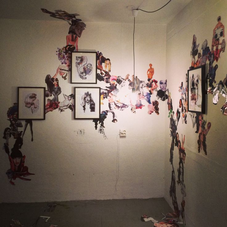 Collage installation by Justine Eikaas | #art #collage #installation #illustration