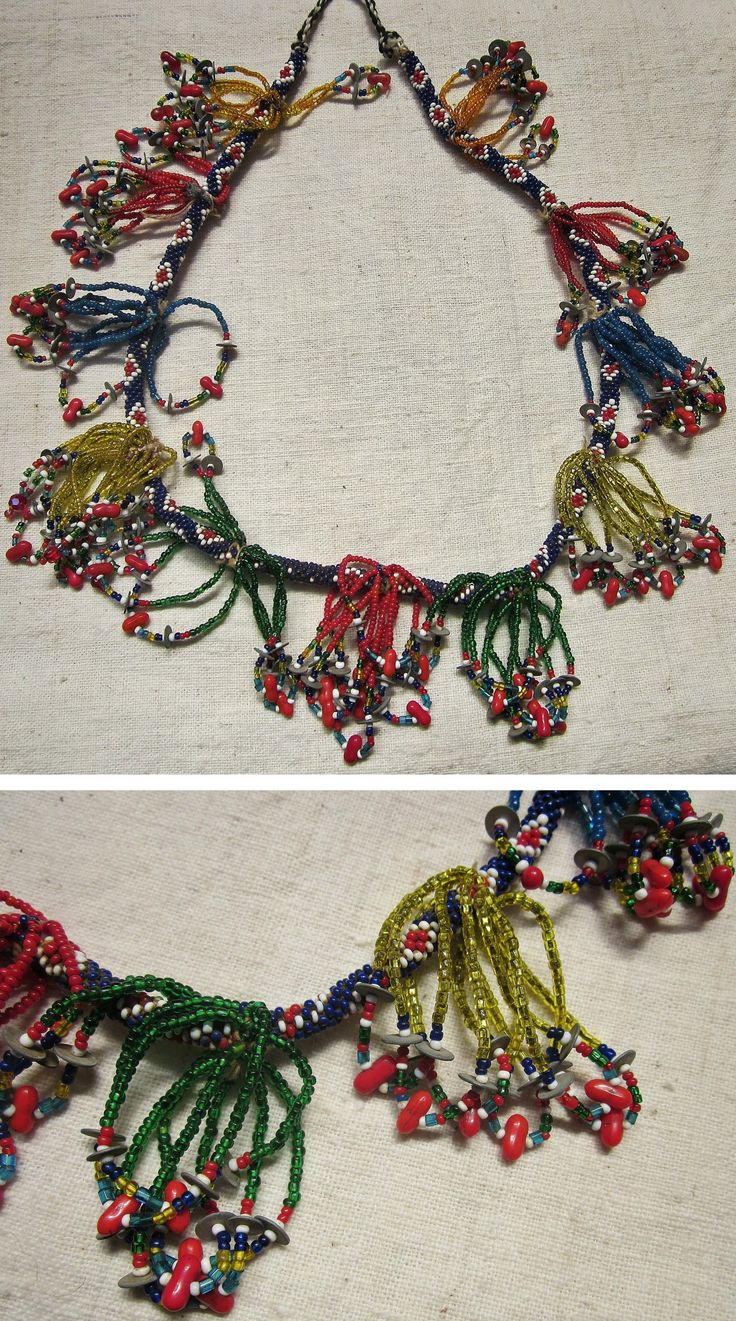 'Gerdanlık'.  Beadwork necklace, for women.  Mid-20th century.  From Türkmen villages in the Dinar district (Afyon province), e.g. Çölovası köyü.  Glass and plastic pearls, metallic sequins.  (Kavak Folklor Ekibi & Costume Collection-Antwerpen/Belgium).