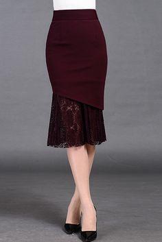 $64.99 Burgundy Mermaid Midi Skirt