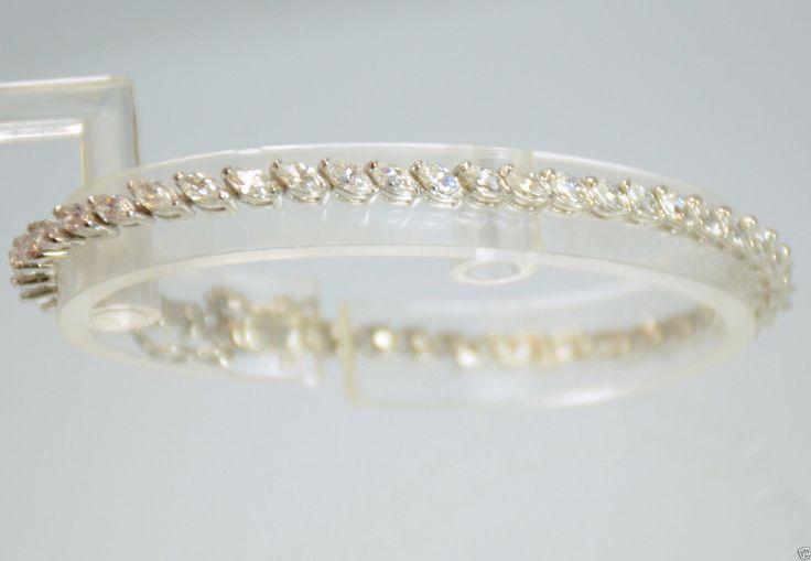 "925 Sterling Silver Marquise Cut CZ Tennis Bracelet 7-1/4"" L | eBay"