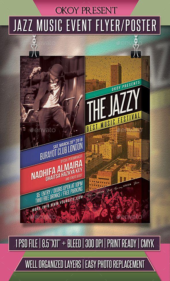 Jazz Music Event Flyer / Poster #concert #music \u2022 Download here