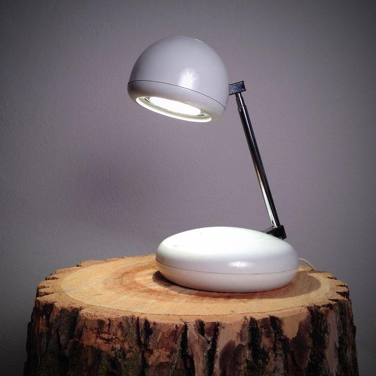 Vintage White Tensor Desk Lamp With Chrome Telescopic