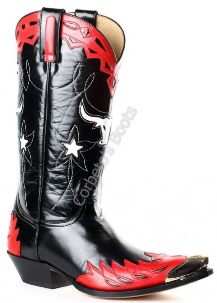 Corbeto's Boots   3893 Pico Cabra Roja-Cabra Negra   Espectacular bota cowboy Sendra unisex que combina piel de cabra roja, negra y blanca. Punteras metálicas decorativas ya incorporadas   Spectacular Sendra black, red and white goat skin cowboy boots with metal toe tips included!