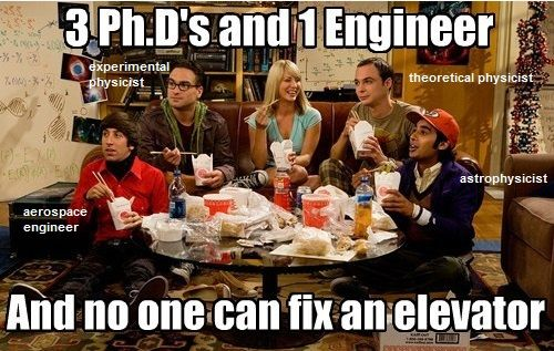 The big bang theory - no one can fix the elevator?