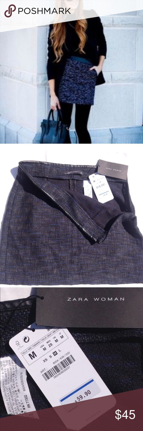 NWT Zara tweed mini skirt Black and blue woven fabric skirt. Leather trim waist. Side zipper. NWT. Sold out at Zara. Not first picture is slightly different model skirt - this listing doesn't not have pockets. Zara Skirts Mini