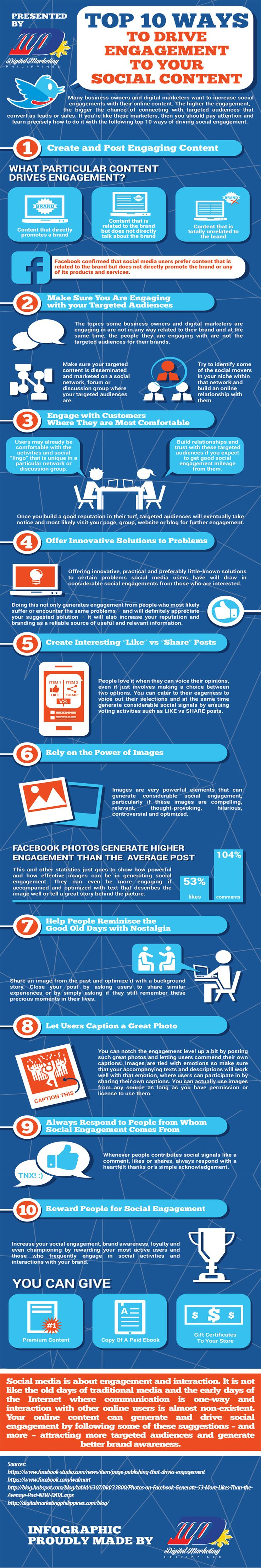 Top 10 Ways to Drive Engagement to Your #SocialContent #infographic http://wildangelgroup.com