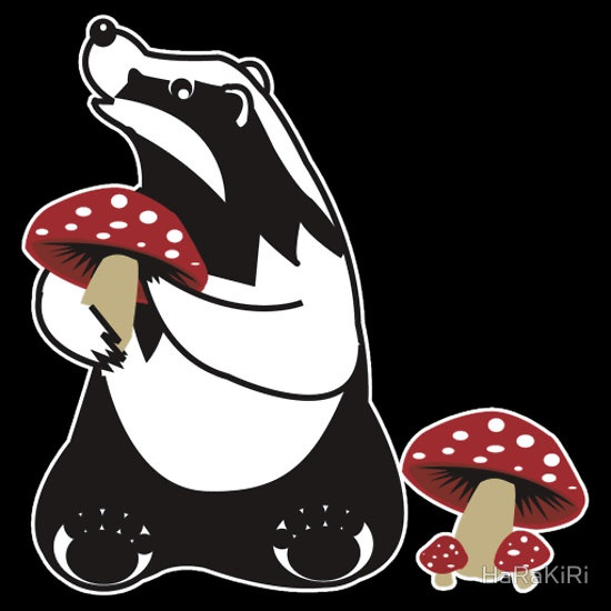 Badger, Badger, Badger, Badger, Mushroom, white stroke