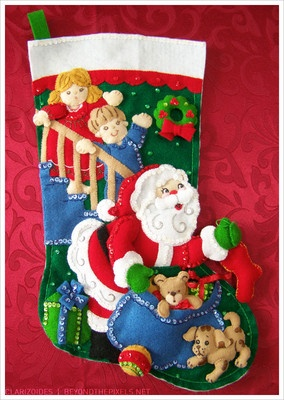 #Bucilla Santa Claus #Christmas felt #stocking with sequins! Free shipping and name customization available starting at $37