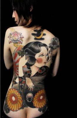 modern japanese girl tattoo design