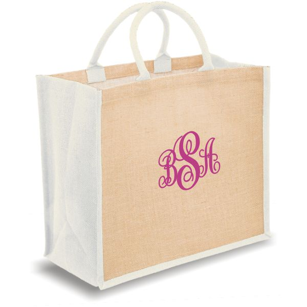 Personalized Tote Bags 3 letters vine monogram